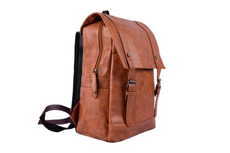 Brown leather backpack on white background