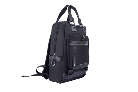 Black backpack bag with handles on white background isolated