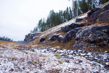 rocky terrain of karelia. Time of year autumn