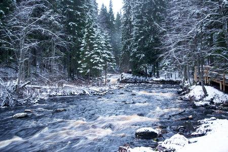Mountain river in Karelia, Karelia Valley of waterfalls, winter landscape. Stock fotó