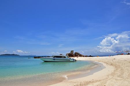 speedboat: Beach with speedboat, khai island, indian ocean Stock Photo