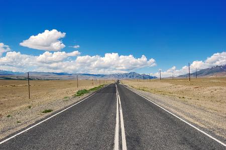 russia steppe: Open road in mongolian steppe, desert Russia