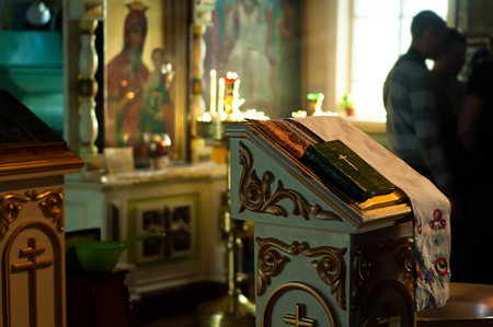 orthodoxy: Inside the russian orthodoxy christianity church, icons Stock Photo