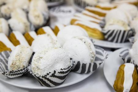 blackwhite: Tasty white macaroons on table blackwhite on coffeebrake