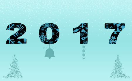 Postcard 2017 new year to inscribe Stock Photo
