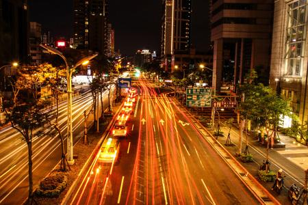 Night car in the city light streamline