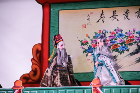 Taipei, Taiwan - NOV 05, 2017 Glove puppetry stage in Taiwan Traditional Theatre Center.a type of opera using cloth puppets that originated during the 17th century in China. Foto de archivo - 106038891