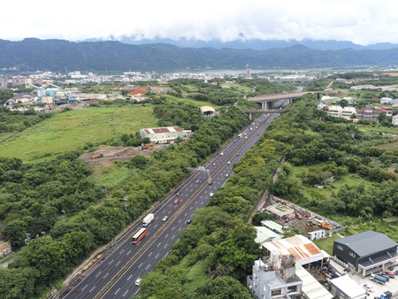 Taipei Taiwan: The ground map taken at The ground map taken at high altitude has a highway has a highway