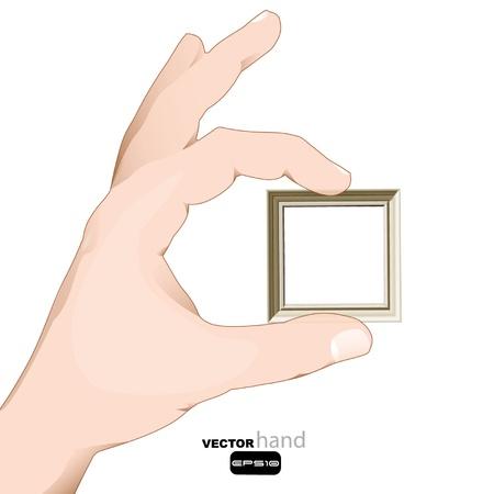 Hand holding an empty frame design Stock Vector - 17722820