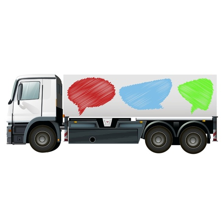 empty lorry with bubble speech comic clouds Stock Vector - 17722855