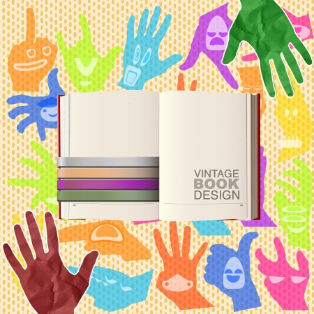 empty book to place your concept design Vector