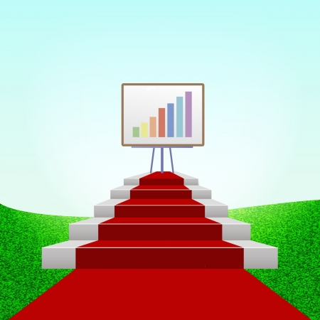 Bar graphic on a red carpet over green grass background Stock Vector - 17722987