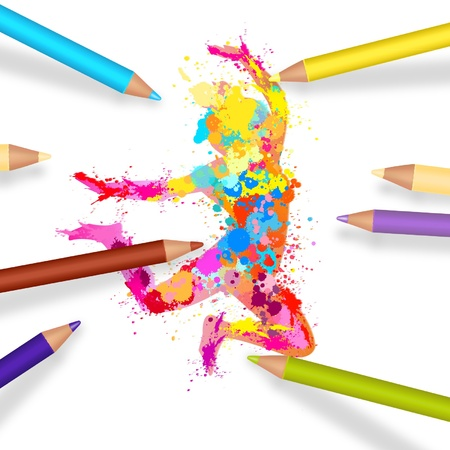 Splash painting girl jumping with colorful pencils