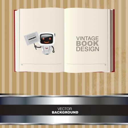 libro caricatura: libro en blanco con un diseño de robot vector de dibujos animados