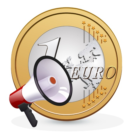 cent: one euro coin with a megaphone  vector design
