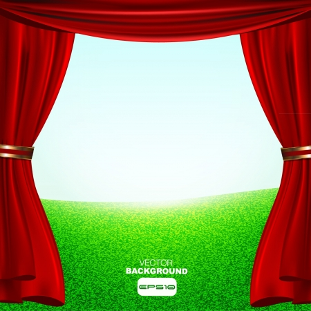green grass and blue sky with a red show curtain Vector