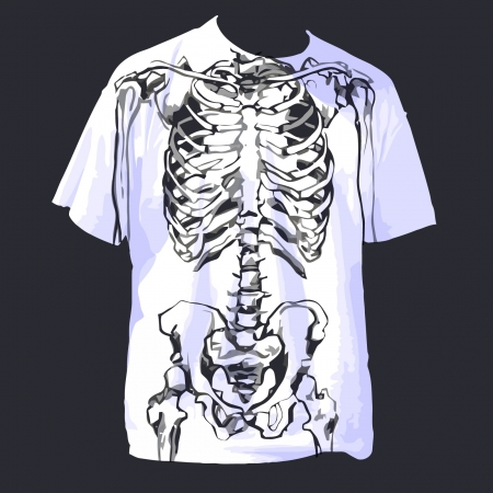 white t shirt with skeleton cartoon Vector