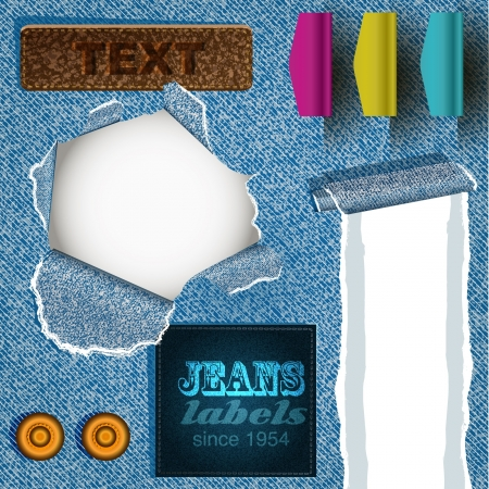 group of blue jeans fabric texture and labels Vector