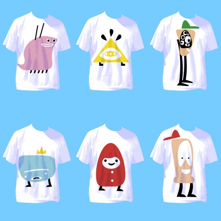 white t shirt:  group of white t shirt with crazy cartoons  vector design