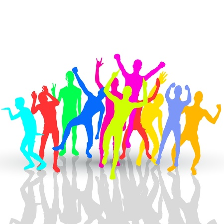 color people silhouettes  crowd concept Vector