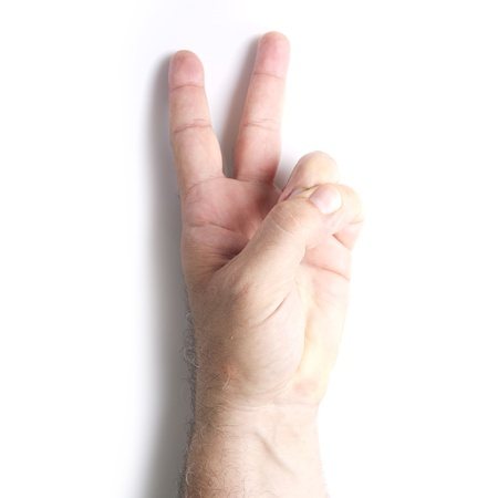 man hand with peace gesture photo
