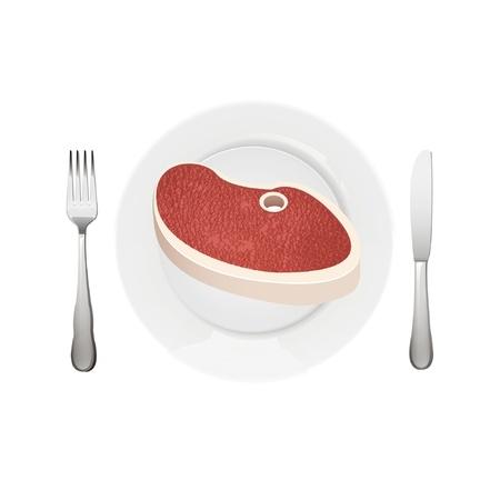 steak plate: carne con plato, tenedor y cuchillo Vectores