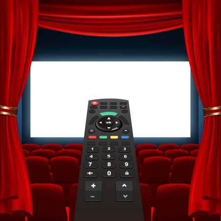 tv remote and cinema screen Vector