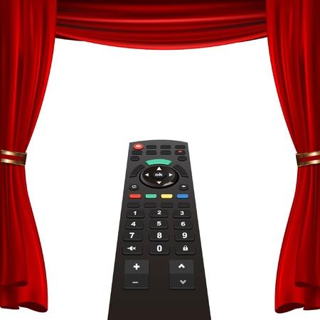 tv remote: пульте телевизора и красный занавес