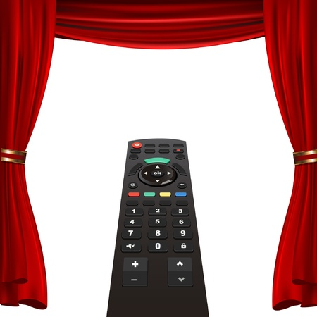 tv remote and red curtain Vector