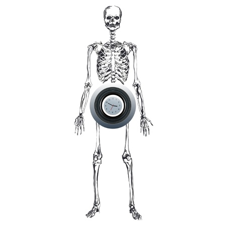 skeleton with a clock  time concept Vector