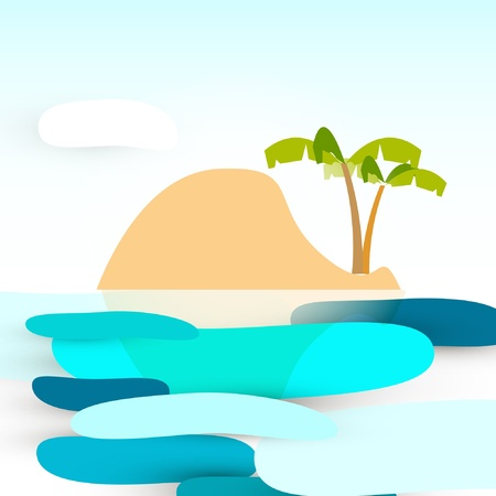 island cartoon: island cartoon, sea and sky