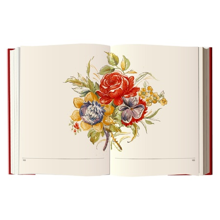 flower cartoon on a book Vector