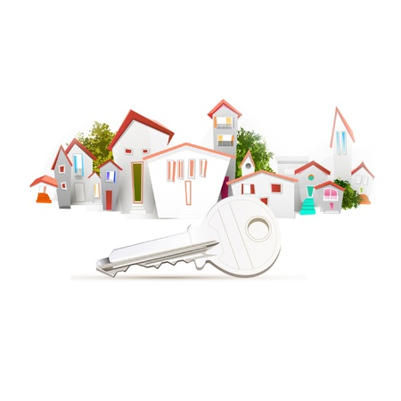 town and key Vector