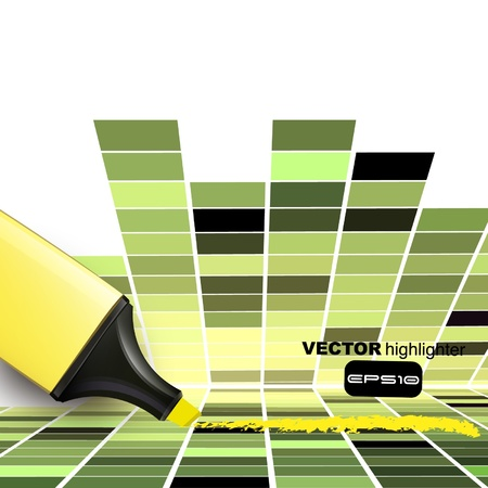 yellow marker on a square abstract background Vector