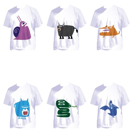 t shirts: group of white t shirts with crazy cartoons