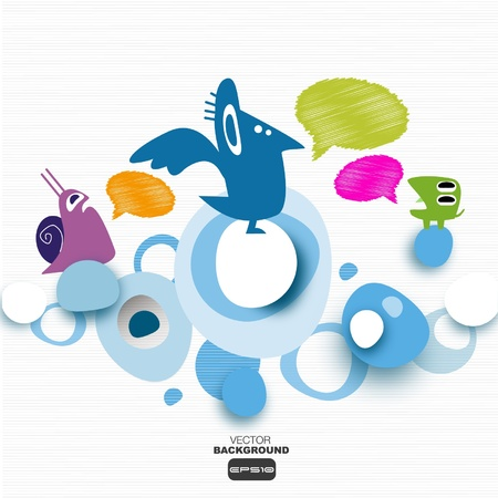 crazy animals on an abstract cloud   Vector