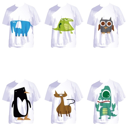 group of white t shirts with crazy cartoons Vector