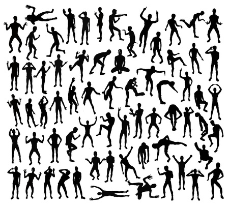 black people silhouettes in different positions Vector