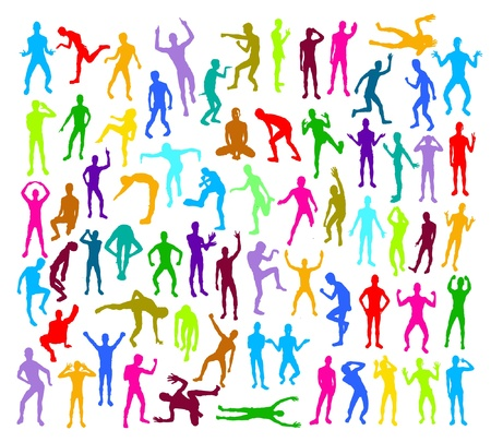 people silhouettes in different positions Vector