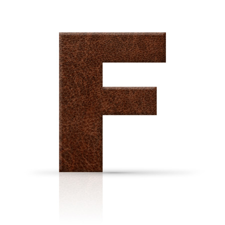 key words art: f letter leather texture Stock Photo