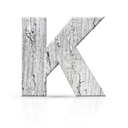 k letter white wood texture