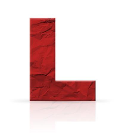 crinkled: l letter wrinkled red paper