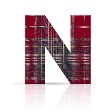 n letter plaid fabric texture Stock Photo