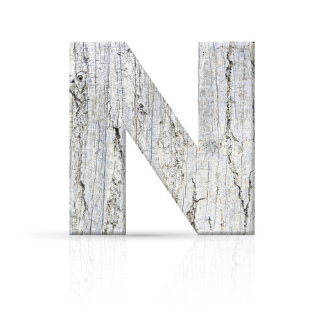 n letter white wood texture photo