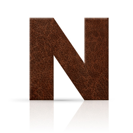n letter leather texture Stock Photo