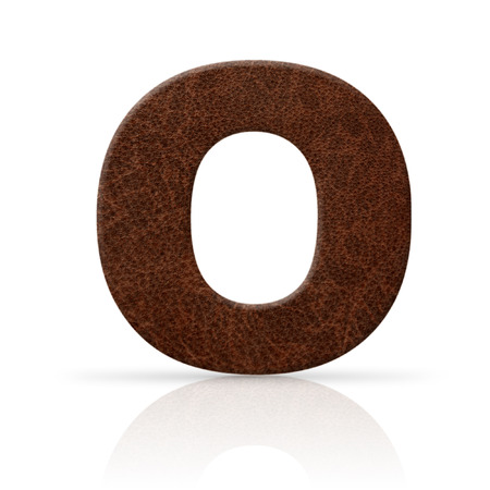key words art: o letter leather texture