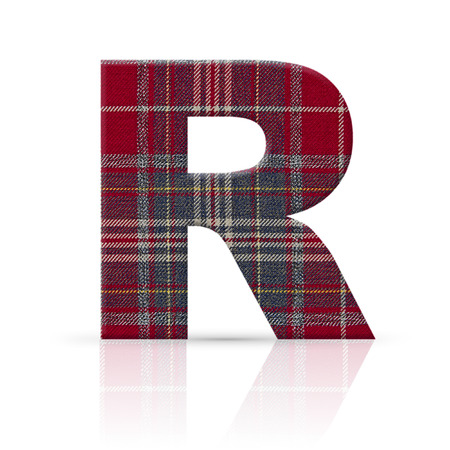r letter plaid fabric texture photo