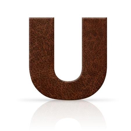 u letter leather texture photo