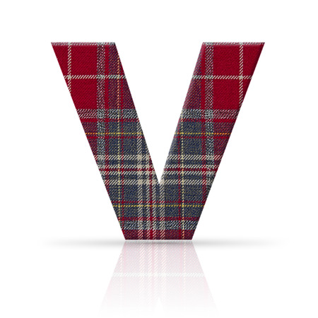 v letter plaid fabric texture photo