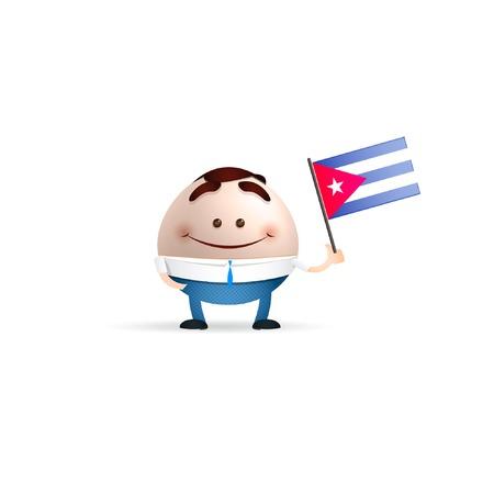 bandera cuba: hombre de negocios con la bandera de Cuba Vectores